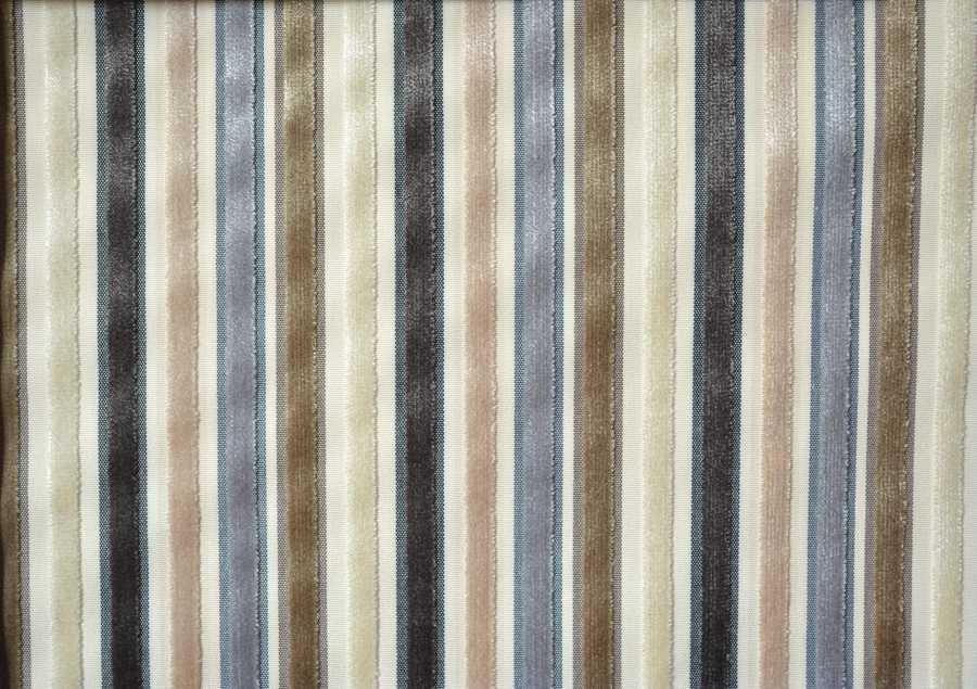 Pisa Stripe Velvet in Charcoal, Silver, Mink & Cream