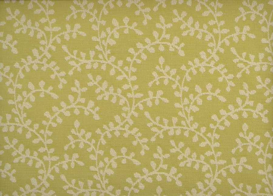 Fiorano Leaf  Chenille in Lime Green & Cream