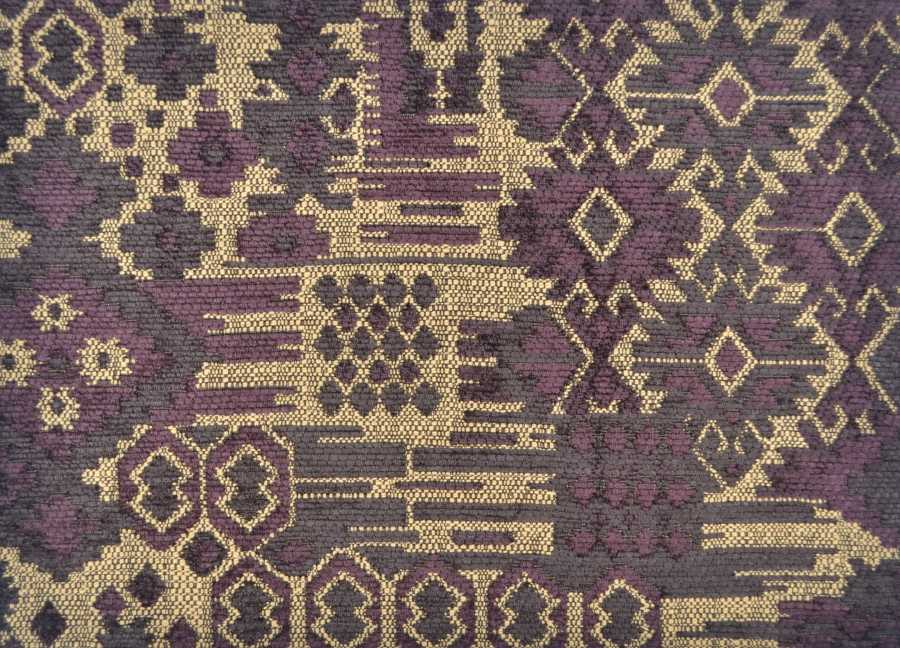 Rigoletto Kilim Chenille in Mulberry, Mocha & Straw