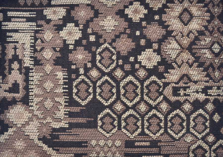 Rigoletto Kilim Chenille in Old Gold, Coffee & Cream