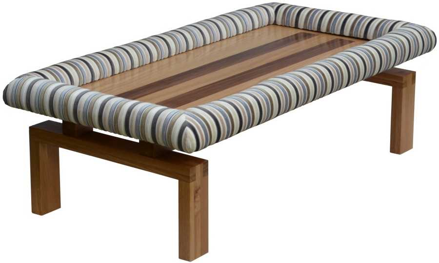 Modern oak coffee table with walnut inlay stripes complete with Padable footrest